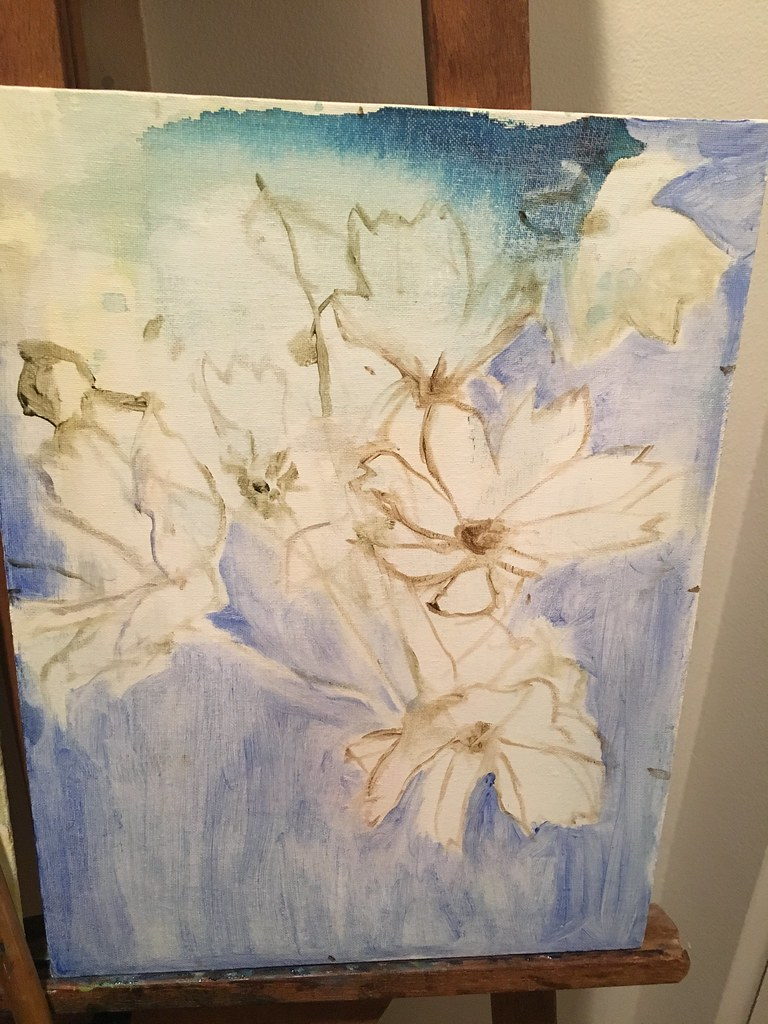 work in progress cosmos floral abstract oil painting