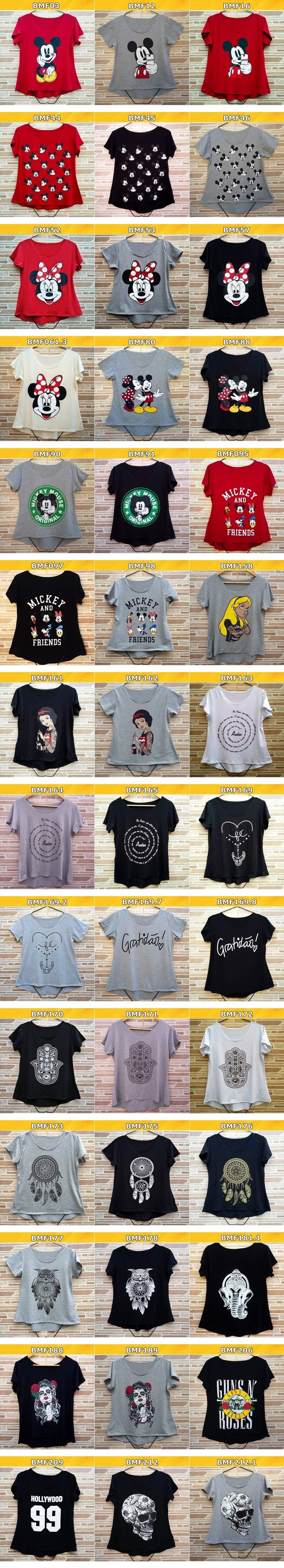 Tabela camisetas femininas GLICOMSHOP