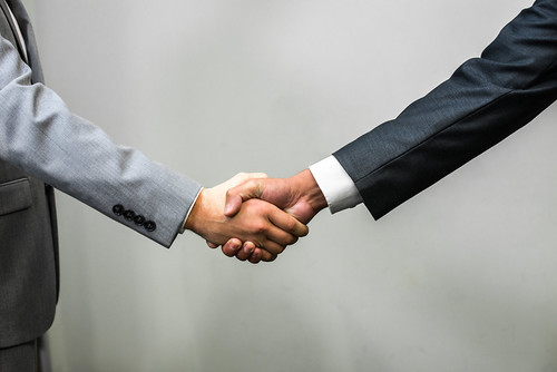 Handshake - Men  White Man In A Suit Shaking Hands With -2565