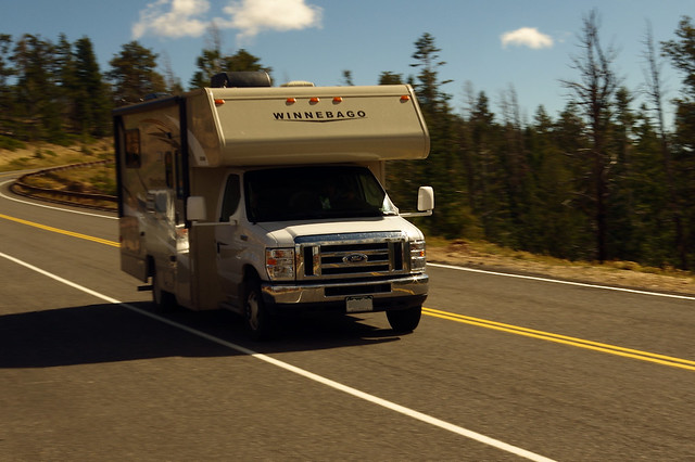 Winnebago Minnie Winnie motorhome about 0.8 miles from Rainbow Point, Bryce Canyon National Park, Utah, October 7, 2015