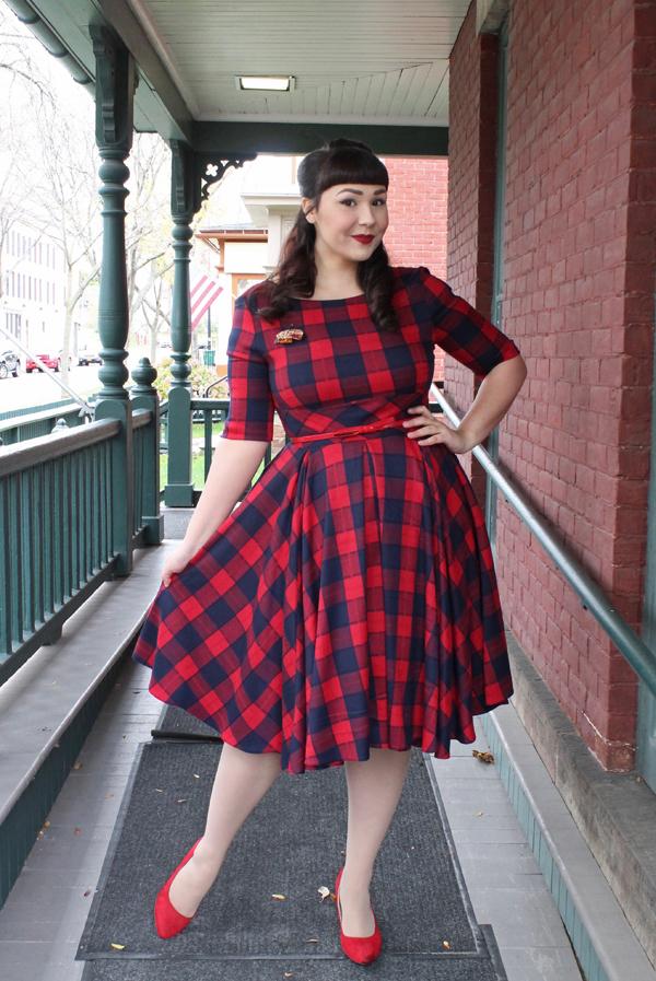vintage retro plaid dress