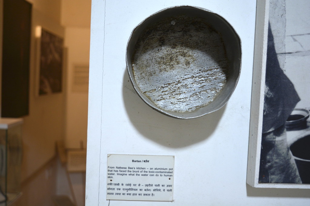 An aluminium pot from Nafeesa Bi's kitchen reflecting the impact of polluted water