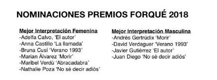 Premios Forqué 2018