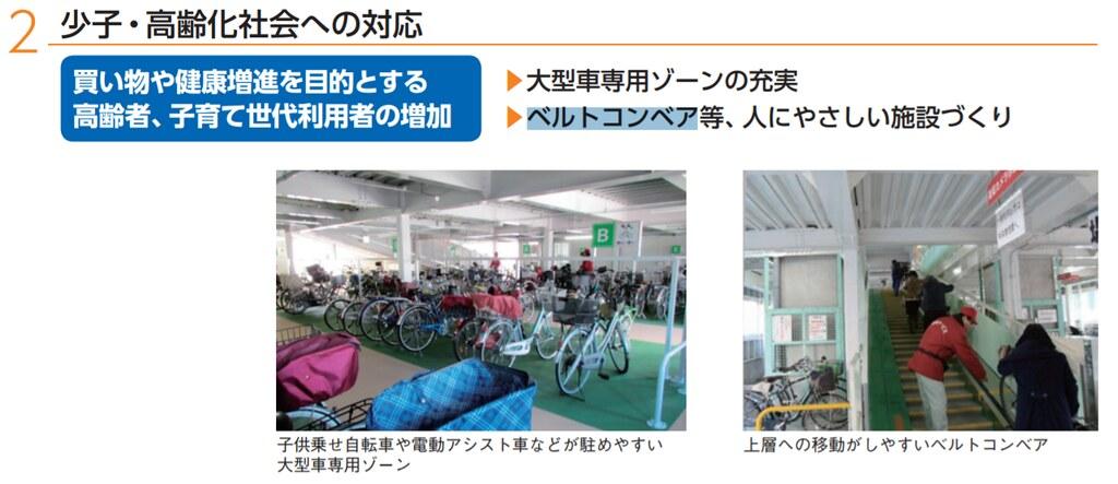 因應人口減少的未來社會形態,日本在自行車服務方面做了許多新嘗試,如提供大型車輛停車格、附帶方便往上層移動的輸送帶、將棄置自行車捐給發展中國家等。