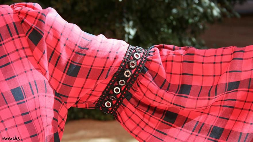 vestido de cuadros mangas de campana
