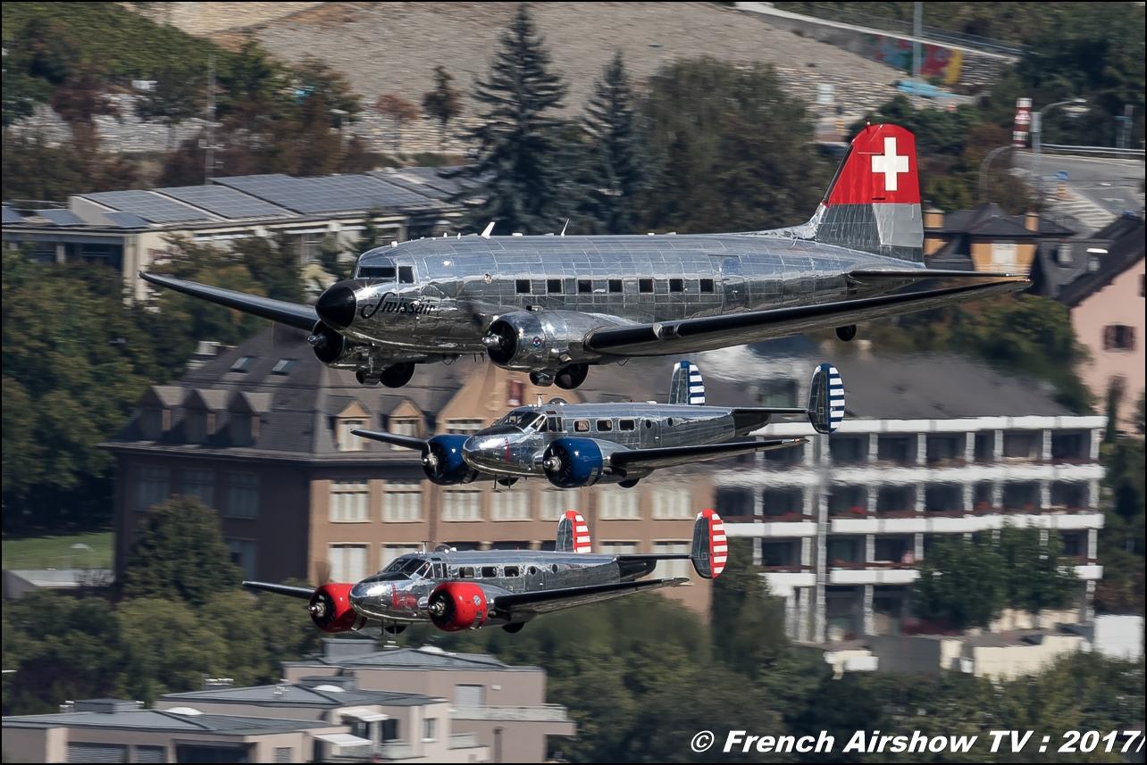 Beech-18 and Douglas DC-3 Breitling classic formation, , Breitling Sion Air Show 2017 , sion airshow , montagne , Alpes suisse , Canton du Valais , Meeting Aerien 2017