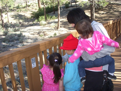 A family playing with the Discovery Agents app at Chilao Visitor Center in the Angeles National Forest