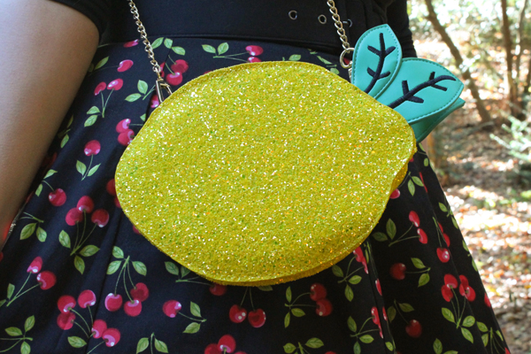 always fits lemon crossbody glitter purse