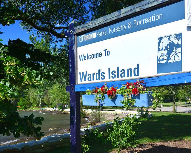 Cartel de bienvenida a la isla de Ward's Island