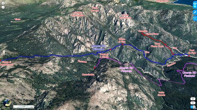"""Photo 3D du Haut-Cavu avec l'ensemble du ruisseau du Finicione et le tracé du """"Chemin de la Montagne aux Plages"""" (Castedducciu) par la rive gauche et sa variante par la rive droite en vue longitudinale"""