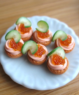 miniature tartlets with red caviar | by luckyjuliett