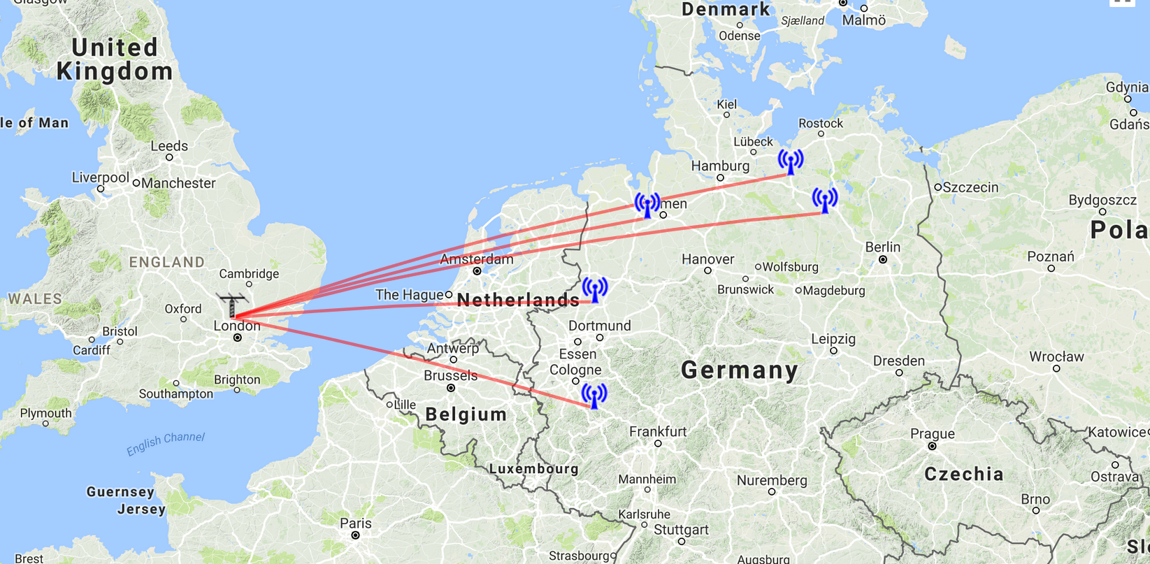 German signals received at night