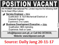 KK Power International Ltd,Service Engineer,Lahore