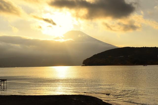山中湖からの富士山と夕日