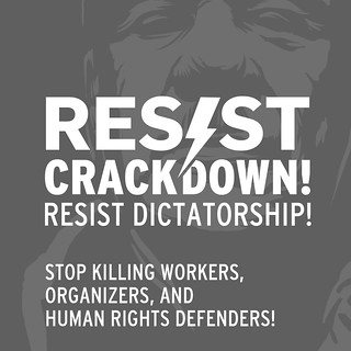Grey background with white lettering reading: Resist crackdown, resist dictatorship!