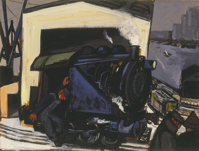 Artwork on paper depicting a train