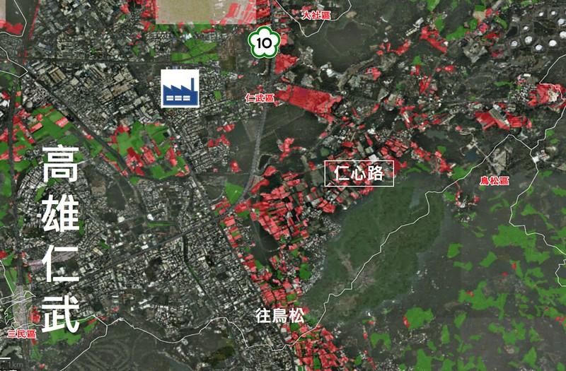環團調查,在全台農地違章工廠佔地數量最多、面積也最大的行政區當中,高雄仁武排名第五。圖片來源:台灣環境資訊協會。