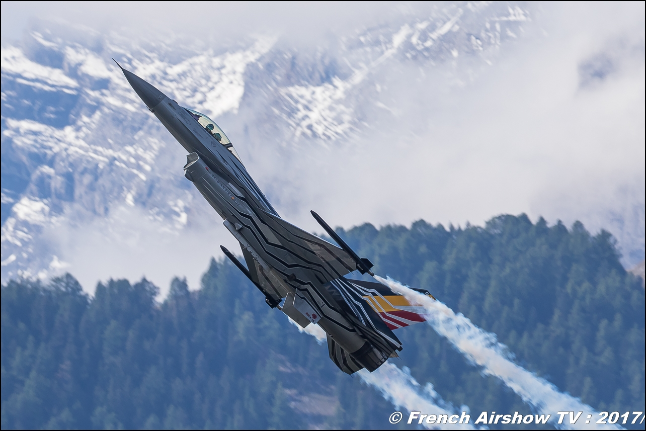 Belgian Air Force F-16 Solo Display BE , F-16 Solo Display Team BAF , Breitling Sion Air Show 2017 , sion airshow , montagne , Alpes suisse , Canton du Valais , Meeting Aerien 2017