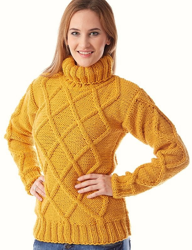 Womens Mustard Cable Knit Turtleneck Sweater Sheldon C Edward