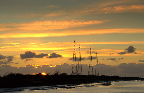 Electric pylons over the Ribble at Preston | by Tony Worrall