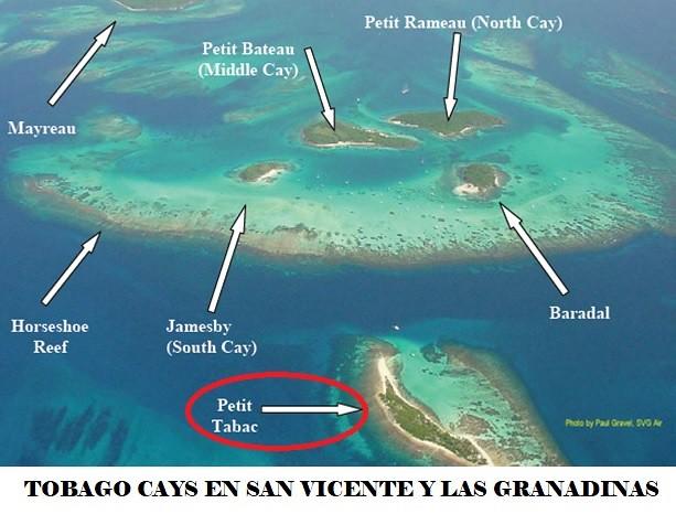 Mapa de Tobago Cays en San Vicente y las Granadinas