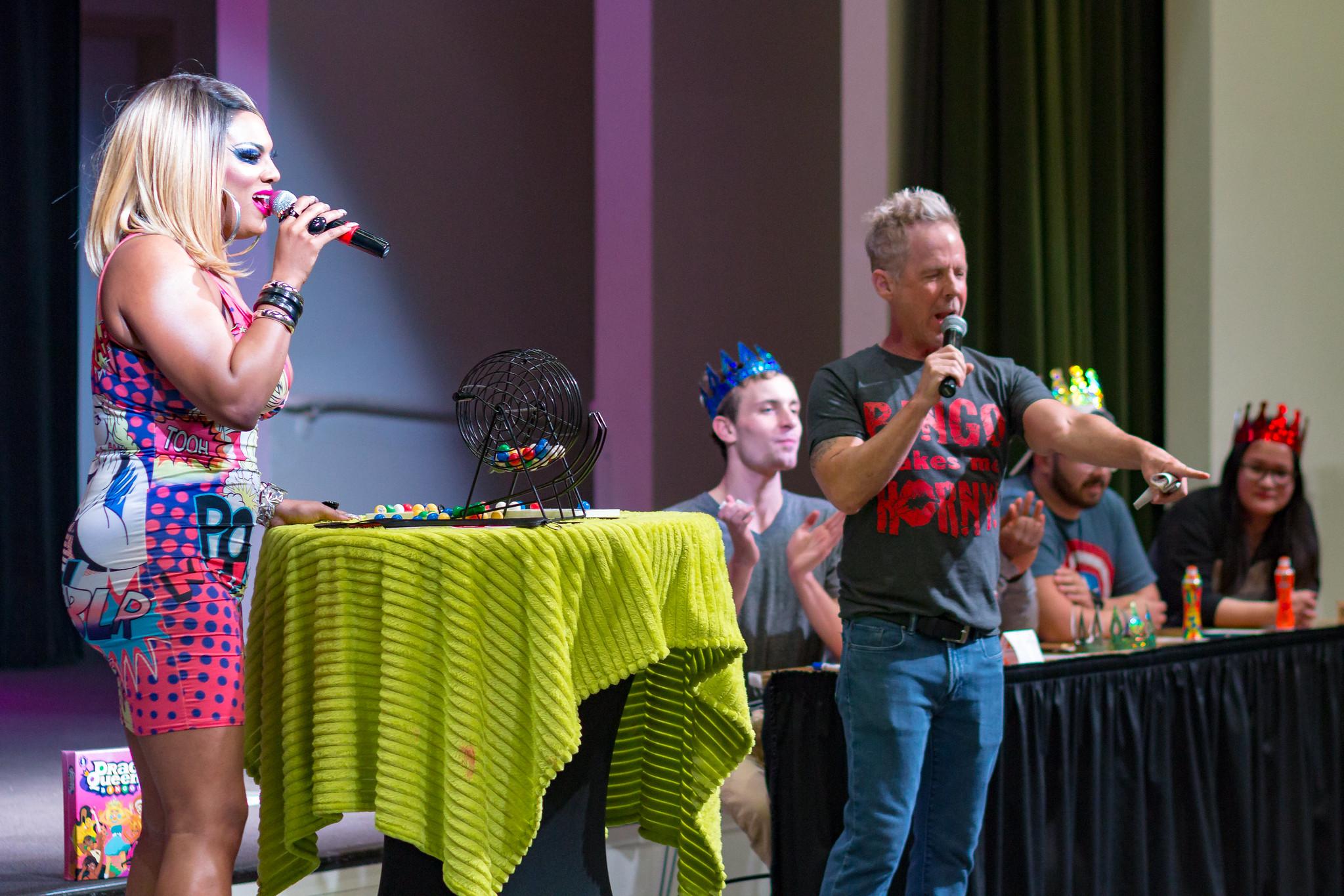 Image of Roxy Wood and co-host leading Drag Bingo.
