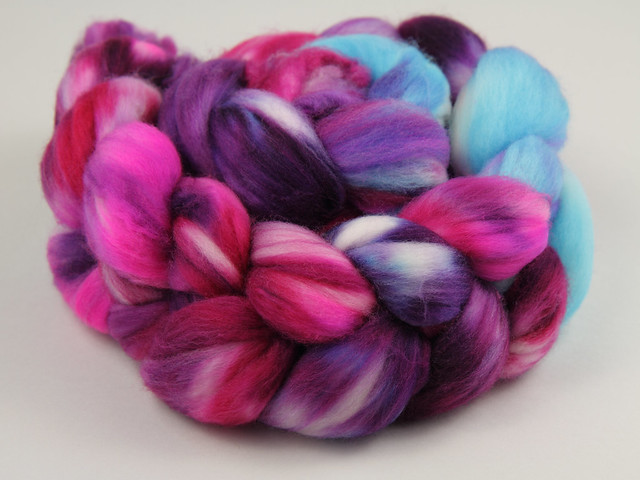 Hand Dyed Superfine Merino Superwash Wool Combed Top/Roving/Spinning Fibre 100g – 'Lightning' (purple, turquoise, pinks)