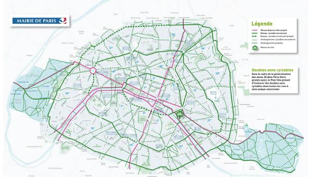 這兩年巴黎努力擴充自行車路網,希望2020年提升自行車通勤比率至15%。圖片來源:paris.fr。