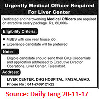 DHQ Hospital,Medical Officer,Faisalabad