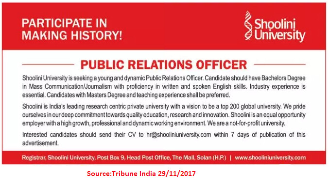 Shoolini University,Public Relation Officer,Solan.