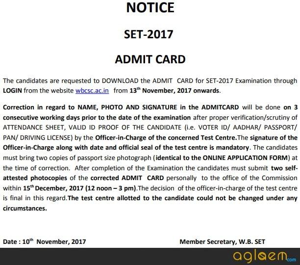 WB SET Admit Card / Hall Ticket 2017