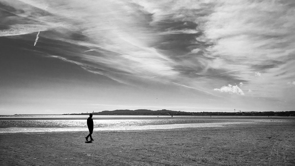 Lonely Black And White Lonely walk - Dublin, ...
