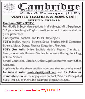 Cambridge International School,TGTs,PGTs,PRTs,Kullu,Palamur.
