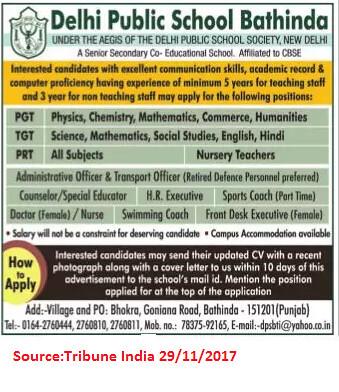Delhi Public School,PGTs,TGTs,PRTs,Bathinda.