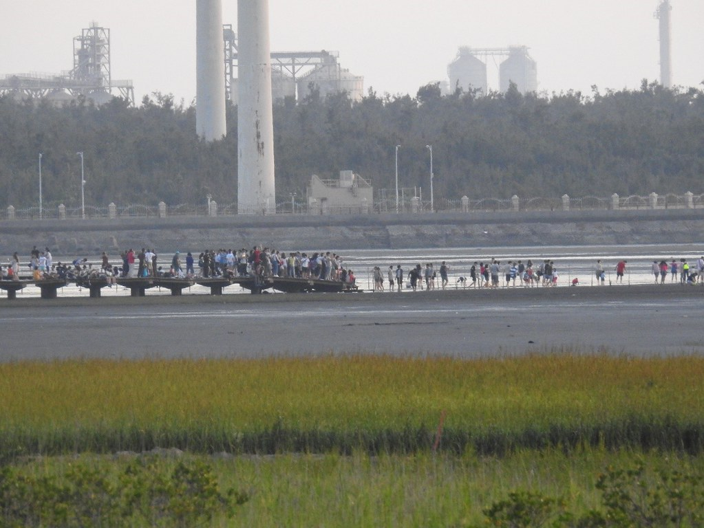 進入永續利用區親水的大量遊客