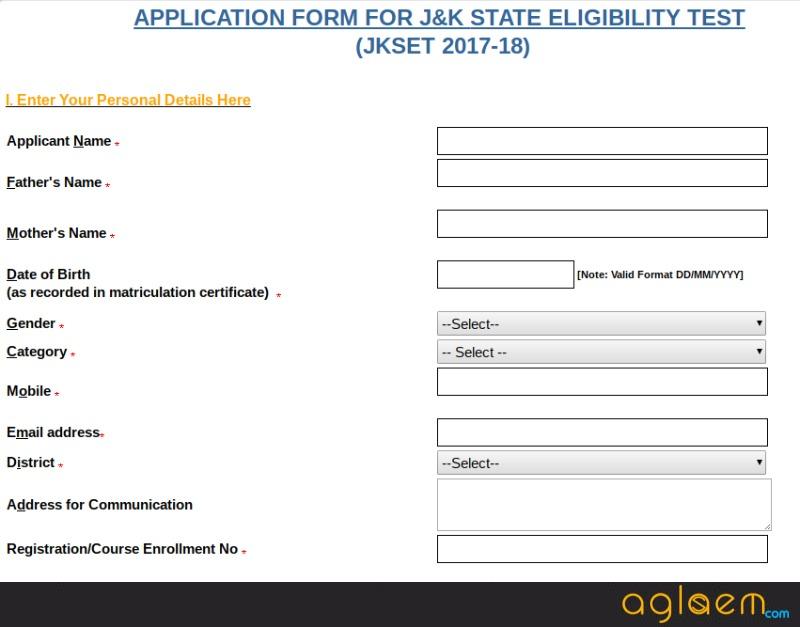 JK SET Application Form 2018