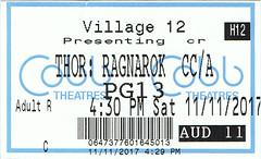 Thor: Ragnarok ticketstub
