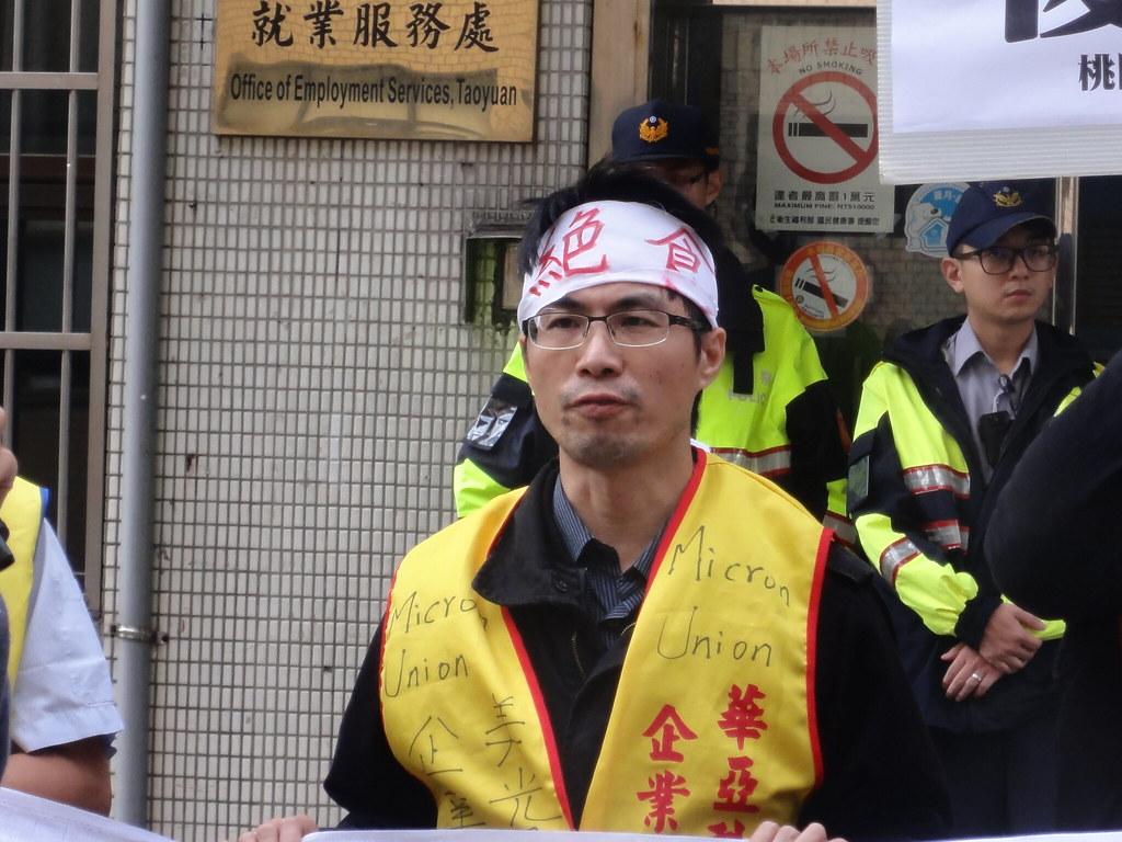 美光工會理事長馮澤源絕食超過40小時。(攝影:張智琦)