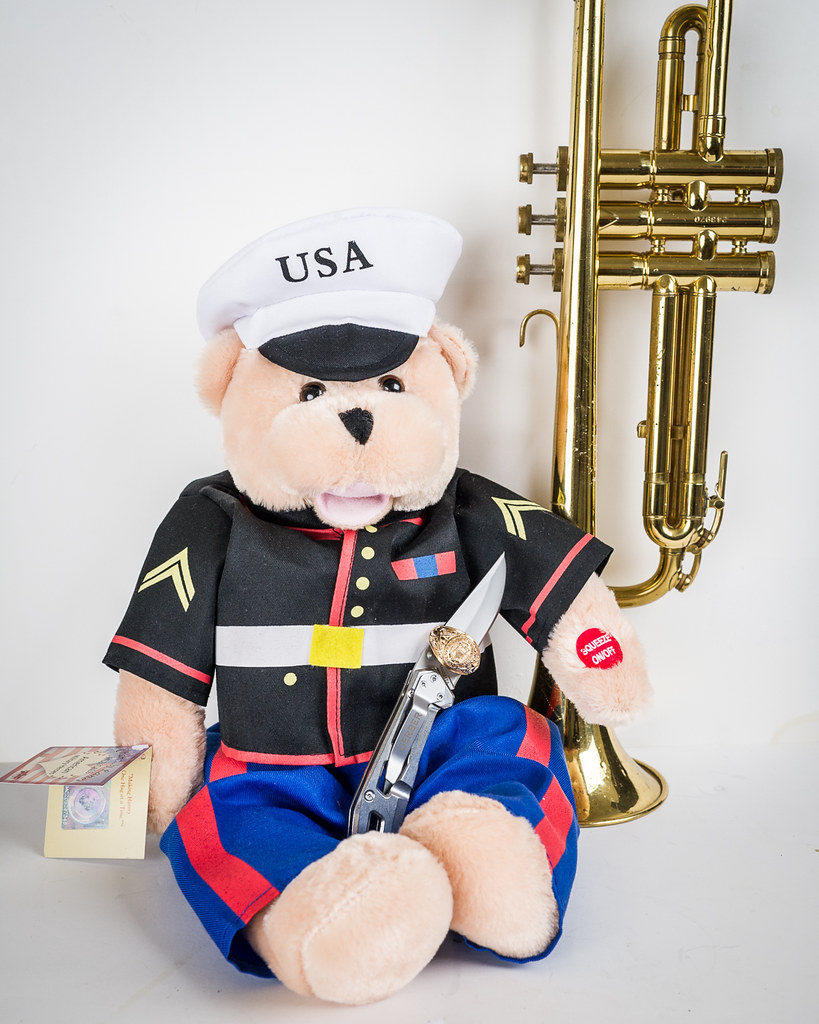 Chesty Marine Corps Bear Has A New Knife They Opened Up