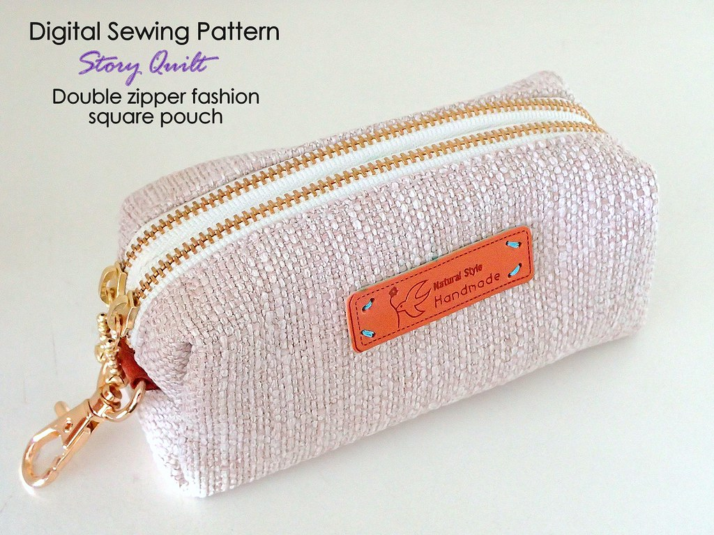 Quick and easy sewing pattern, double zipper square pouch | Flickr