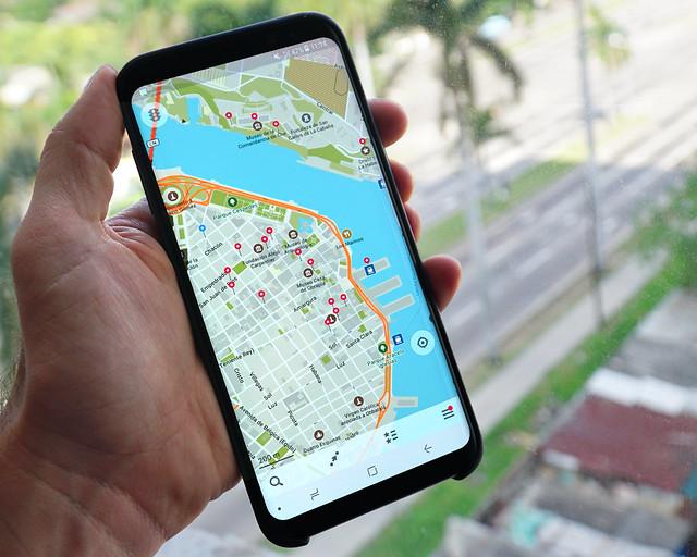 Aplicación de maps.me en La Habana
