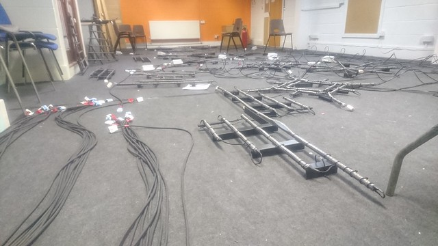 Baubles laid out across the floor for testing