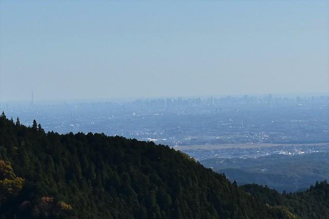 御岳山から見る新宿高速ビル群とスカイツリー