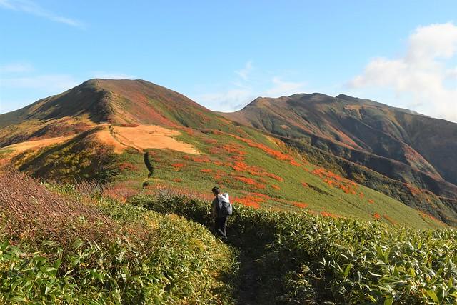 紅葉の朝日連峰・竜門山と西朝日岳