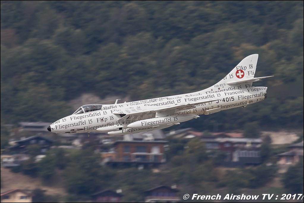 Hunter-Papyrus Switzerland - Air Force Hawker Hunter F.58 J-4015 & Hunter T.Mk.68 - Amici Dell'hunter , HB-RVR , J-4201 , Breitling Sion Air Show 2017 , sion airshow , montagne , Alpes suisse , Canton du Valais , Meeting Aerien 2017
