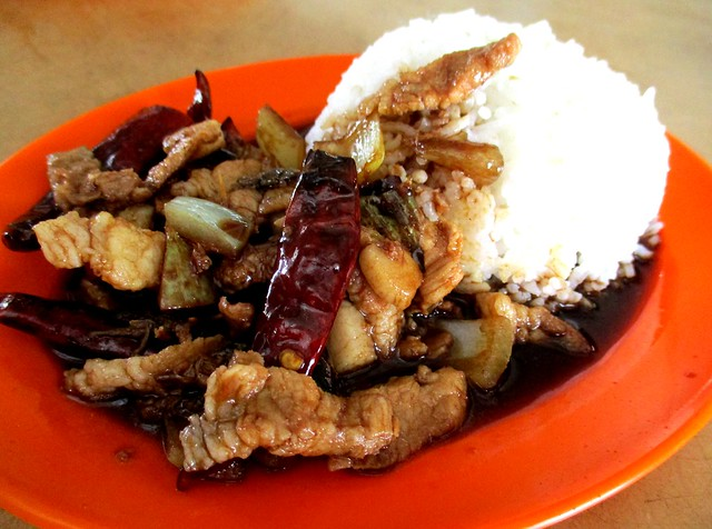 Chopsticks salted fish pork with rice