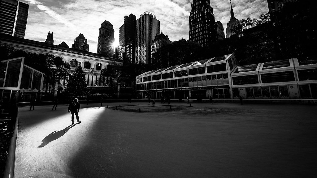 Bryant park new york black and white street photography by giuseppe milo