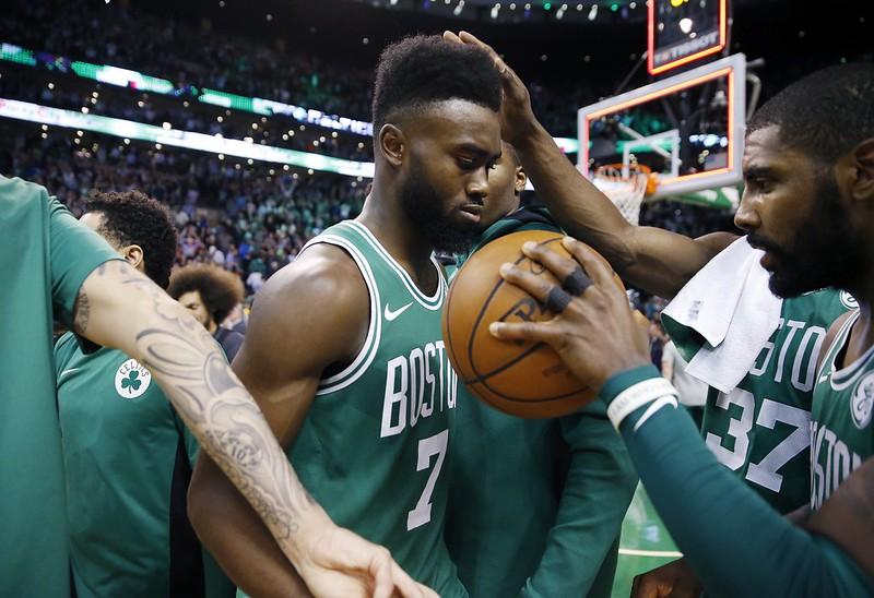 Jaylen Brown第2年NBA賽季,展現大將之風。(達志影像資料照)