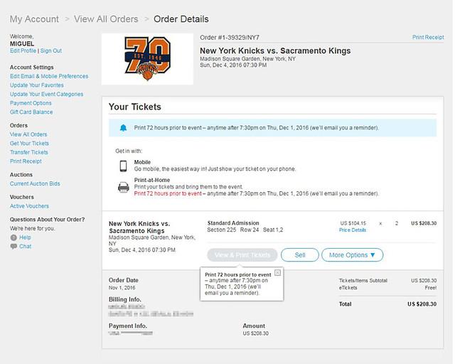 Captura de la venta de nuestras entradas para la NBA en Nueva York