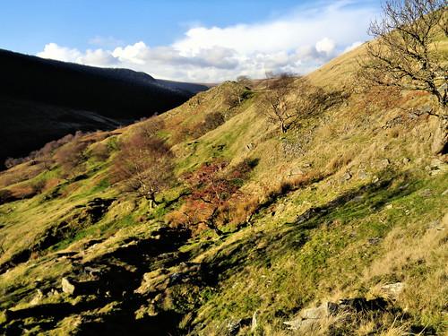 Ascending the slope to Alport Castles